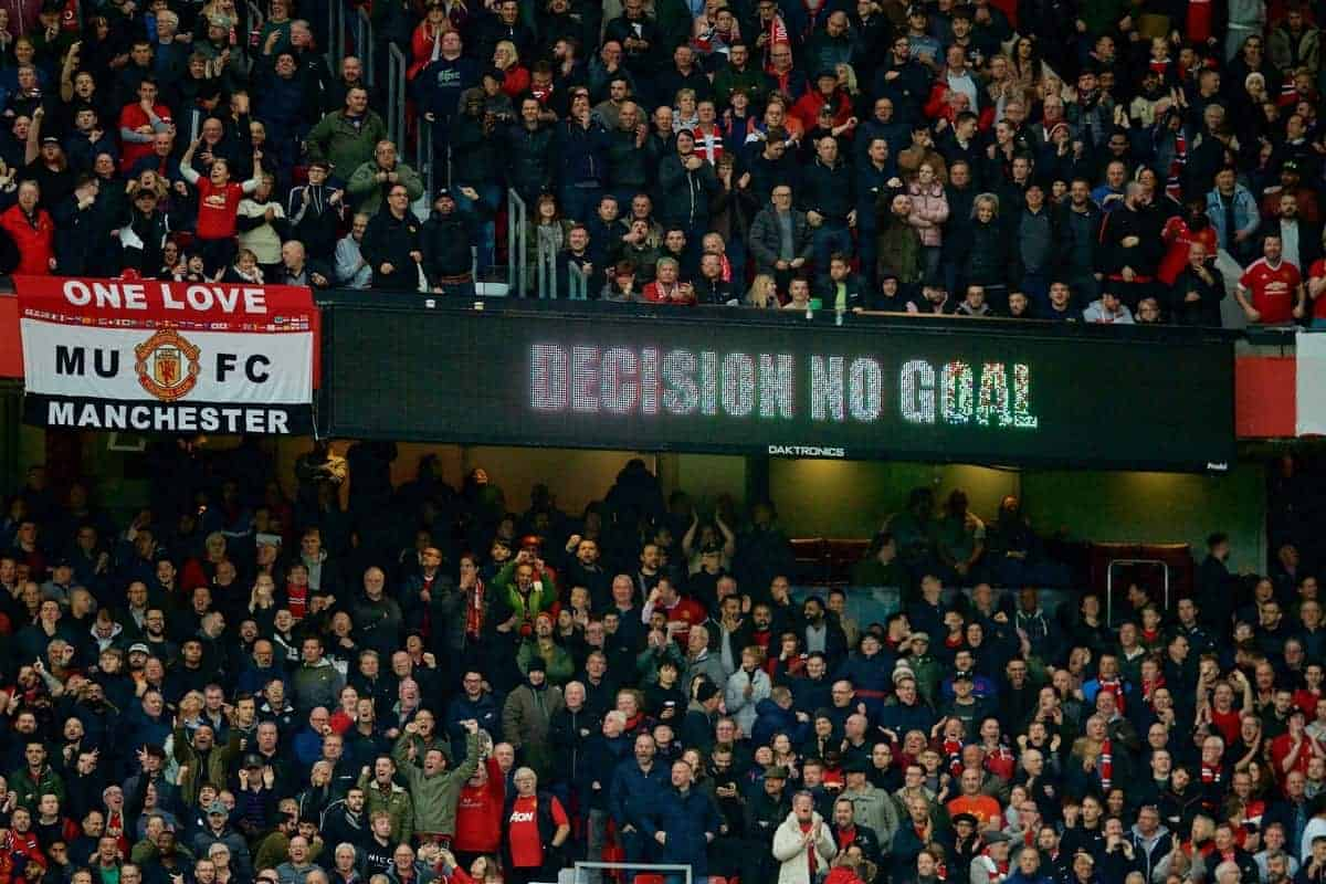MANCHESTER, ENGLAND - Saturday, October 19, 2019: The wildly inaccurate and capricious VAR disallows Liverpool's first half equalising goal during the FA Premier League match between Manchester United FC and Liverpool FC at Old Trafford. (Pic by David Rawcliffe/Propaganda)