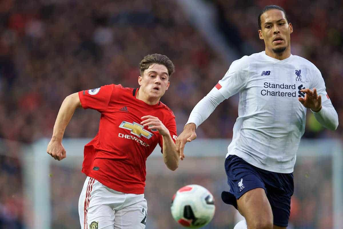 MANCHESTER, ENGLAND - Saturday, October 19, 2019: Manchester United's Daniel James (L) and Liverpool's Virgil van Dijk during the FA Premier League match between Manchester United FC and Liverpool FC at Old Trafford. (Pic by David Rawcliffe/Propaganda)