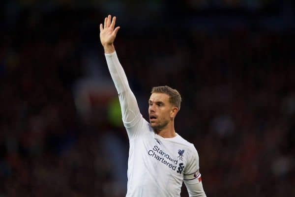 MANCHESTER, ENGLAND - Saturday, October 19, 2019: Liverpool's captain Jordan Henderson during the FA Premier League match between Manchester United FC and Liverpool FC at Old Trafford. (Pic by David Rawcliffe/Propaganda)
