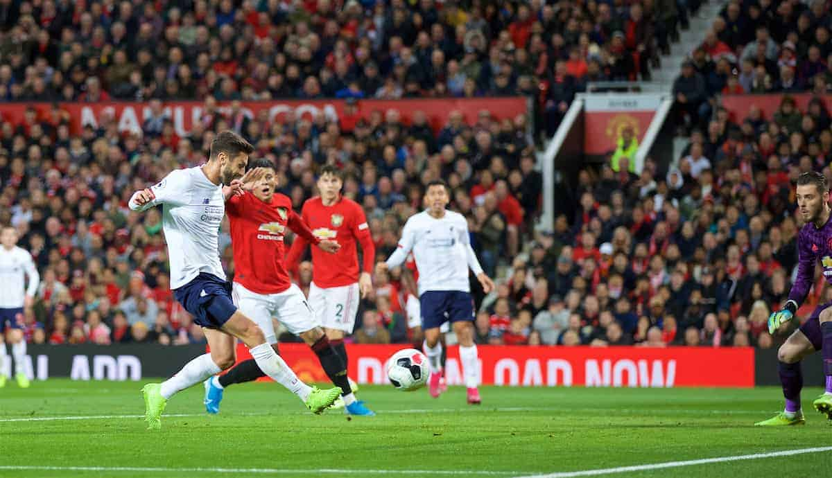 MANCHESTER, ENGLAND - Saturday, October 19, 2019: Liverpool's Adam Lallana scores a late equalising goal to level the score 1-1 during the FA Premier League match between Manchester United FC and Liverpool FC at Old Trafford. (Pic by David Rawcliffe/Propaganda)