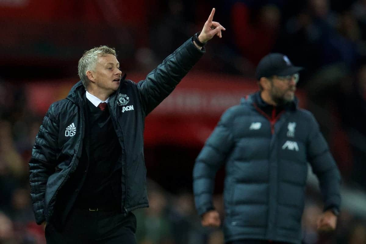 MANCHESTER, ENGLAND - Saturday, October 19, 2019: Manchester United's manager Ole Gunnar Solskjær during the FA Premier League match between Manchester United FC and Liverpool FC at Old Trafford. (Pic by David Rawcliffe/Propaganda)
