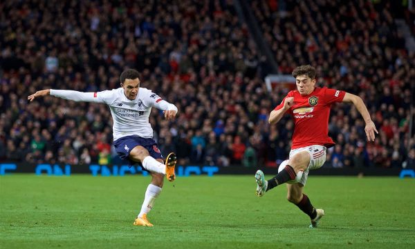 MANCHESTER, ENGLAND - Saturday, October 19, 2019: Liverpool's Trent Alexander-Arnold sees his cross blocked by Manchester United's Daniel James during the FA Premier League match between Manchester United FC and Liverpool FC at Old Trafford. (Pic by David Rawcliffe/Propaganda)