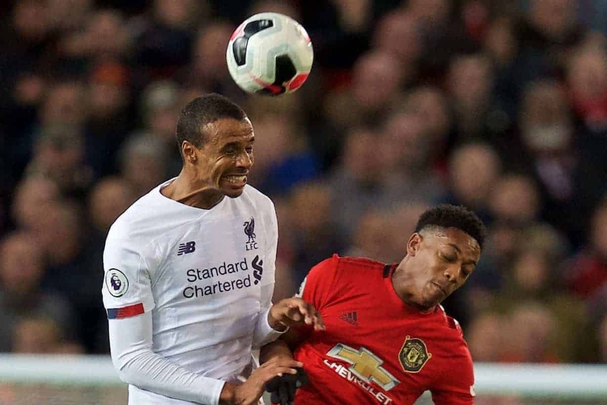 MANCHESTER, ENGLAND - Saturday, October 19, 2019: Liverpool's Joel Matip challenges for a header with Manchester United's Anthony Martial during the FA Premier League match between Manchester United FC and Liverpool FC at Old Trafford. (Pic by David Rawcliffe/Propaganda)