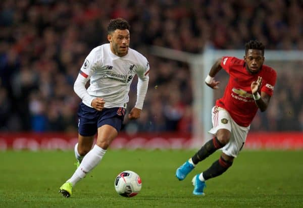 MANCHESTER, ENGLAND - Saturday, October 19, 2019: Liverpool's substitute Alex Oxlade-Chamberlain during the FA Premier League match between Manchester United FC and Liverpool FC at Old Trafford. (Pic by David Rawcliffe/Propaganda)