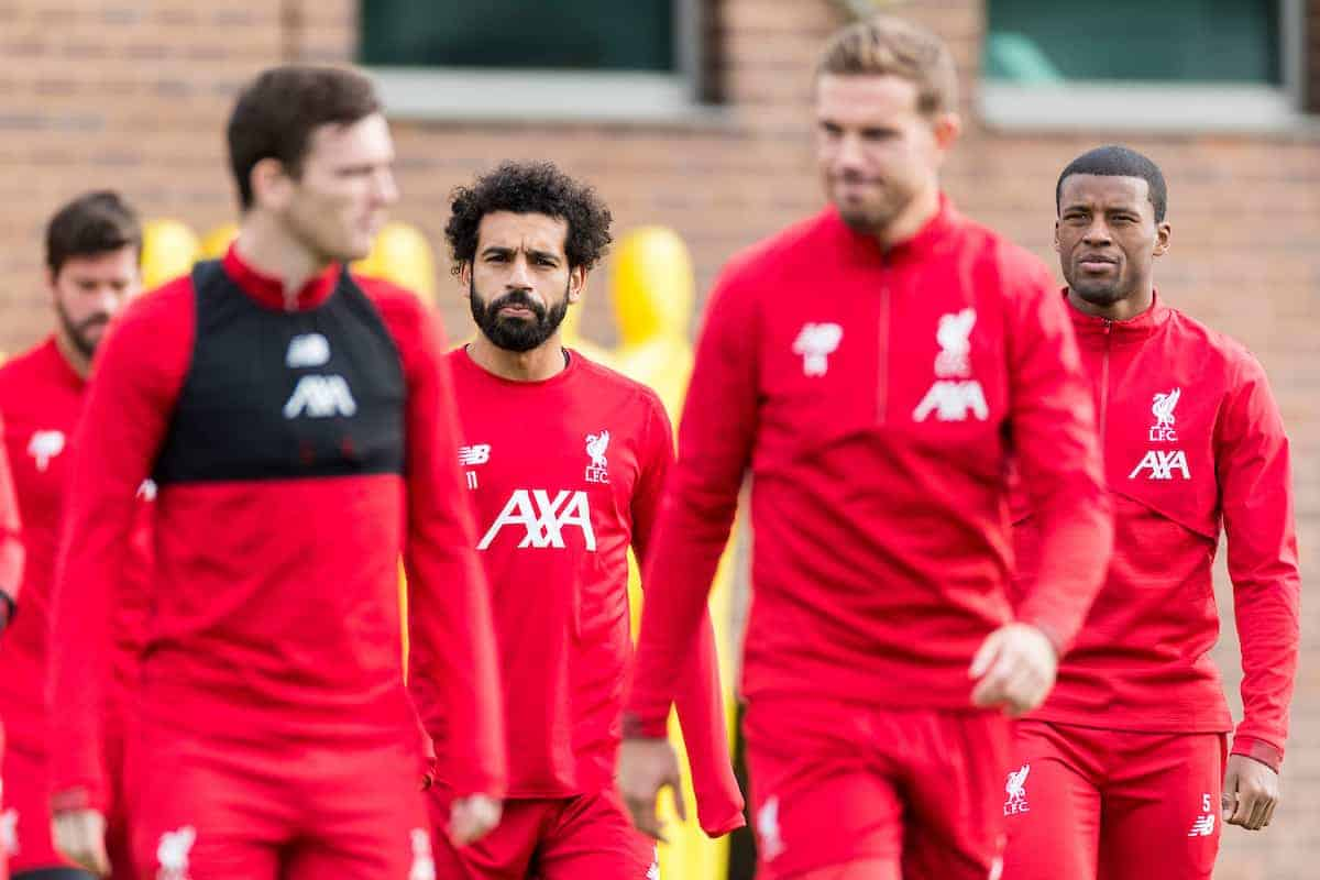 LIVERPOOL, ENGLAND - Tuesday, October 22, 2019: Liverpool's Mohamed Salahand and Georginio Wijnaldum during a training session at Melwood Training Ground ahead of the UEFA Champions League Group E match between KRC Genk and Liverpool FC. (Pic by Paul Greenwood/Propaganda)