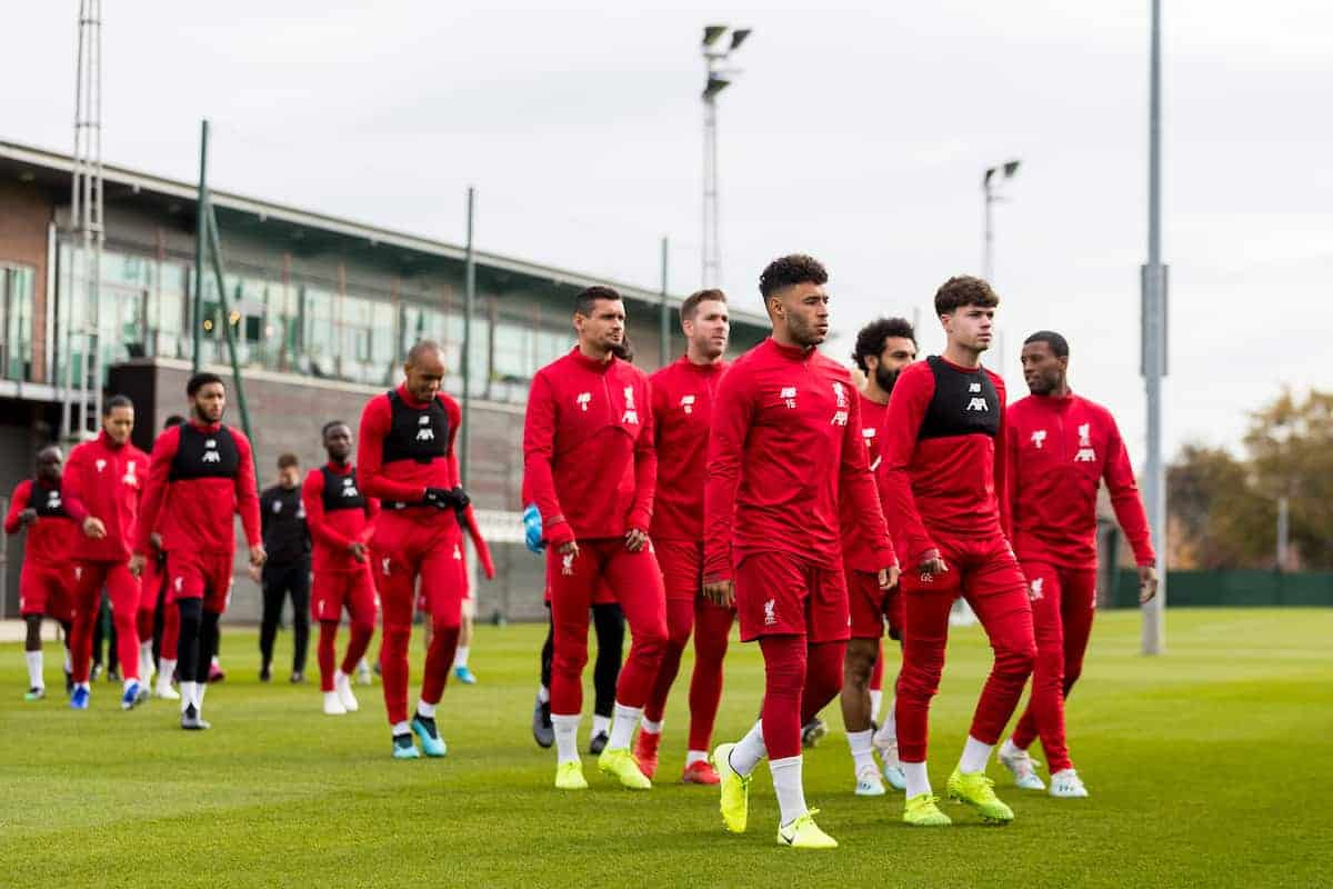LIVERPOOL, ENGLAND - Tuesday, October 22, 2019: Liverpool's players during a training session at Melwood Training Ground ahead of the UEFA Champions League Group E match between KRC Genk and Liverpool FC. (Pic by Paul Greenwood/Propaganda) Alex Oxlade-Chamberlain, Curtis Jons