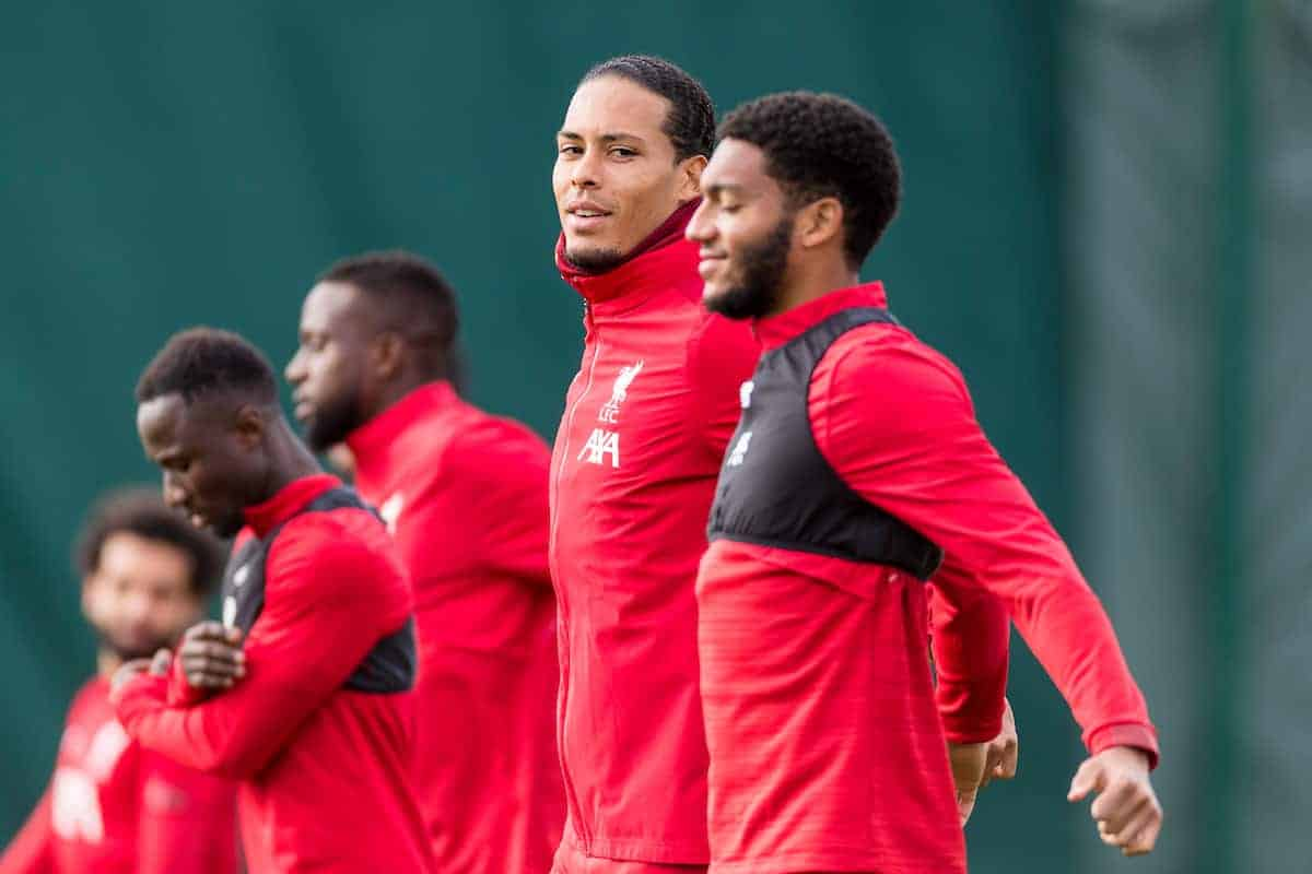 LIVERPOOL, ENGLAND - Tuesday, October 22, 2019: Liverpool's Virgil van Dijk and Joe Gomez during a training session at Melwood Training Ground ahead of the UEFA Champions League Group E match between KRC Genk and Liverpool FC. (Pic by Paul Greenwood/Propaganda)