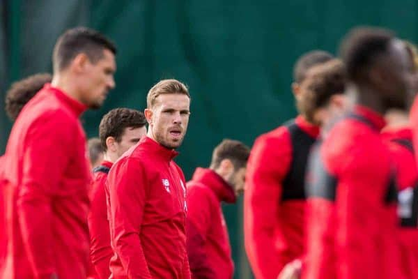 LIVERPOOL, ENGLAND - Tuesday, October 22, 2019: Liverpool's captain Jordan Henderson during a training session at Melwood Training Ground ahead of the UEFA Champions League Group E match between KRC Genk and Liverpool FC. (Pic by Paul Greenwood/Propaganda)
