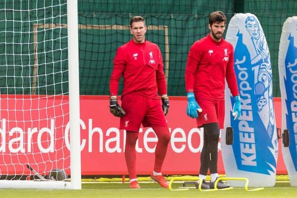 LIVERPOOL, ENGLAND - Tuesday, October 22, 2019: Liverpool's goalkeeper Adrián San Miguel del Castillo and Alisson Becker during a training session at Melwood Training Ground ahead of the UEFA Champions League Group E match between KRC Genk and Liverpool FC. (Pic by Paul Greenwood/Propaganda)