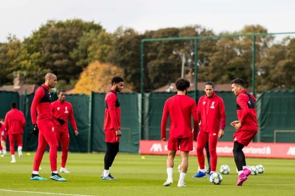 LIVERPOOL, ENGLAND - Tuesday, October 22, 2019: Liverpool's Roberto Firmino during a training session at Melwood Training Ground ahead of the UEFA Champions League Group E match between KRC Genk and Liverpool FC. (Pic by Paul Greenwood/Propaganda) Virgil van Dijk, Fabio Henrique Tavares 'Fabinho', Joe Gomez