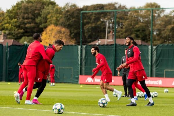 LIVERPOOL, ENGLAND - Tuesday, October 22, 2019: Liverpool's Roberto Firmino, Joe Gomez and Mohamed Salah during a training session at Melwood Training Ground ahead of the UEFA Champions League Group E match between KRC Genk and Liverpool FC. (Pic by Paul Greenwood/Propaganda)