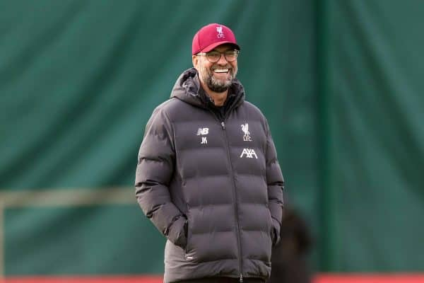 LIVERPOOL, ENGLAND - Tuesday, October 22, 2019: Liverpool's manager Jürgen Klopp during a training session at Melwood Training Ground ahead of the UEFA Champions League Group E match between KRC Genk and Liverpool FC. (Pic by Paul Greenwood/Propaganda)