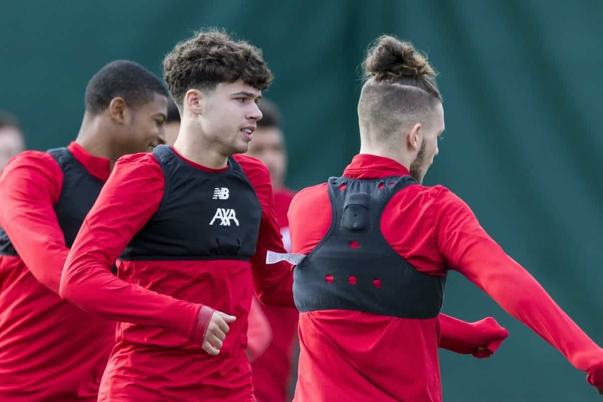LIVERPOOL, ENGLAND - Tuesday, October 22, 2019: Liverpool's Rhian Brewster, Neco Williams and Harvey Elliott during a training session at Melwood Training Ground ahead of the UEFA Champions League Group E match between KRC Genk and Liverpool FC. (Pic by Paul Greenwood/Propaganda)