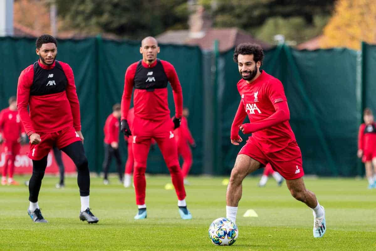 LIVERPOOL, ENGLAND - Tuesday, October 22, 2019: Liverpool's Mohamed Salah during a training session at Melwood Training Ground ahead of the UEFA Champions League Group E match between KRC Genk and Liverpool FC. (Pic by Paul Greenwood/Propaganda)