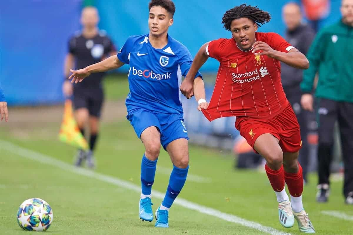 GENK, BELGIUM - Wednesday, October 23, 2019: Liverpool's Yasser Larouci (R) and KRC Genk's Ilias Takidine the UEFA Youth League Group E match between KRC Genk Under-19's and Liverpool FC Under-19's at the KRC Genk Arena Stadium B. (Pic by David Rawcliffe/Propaganda)