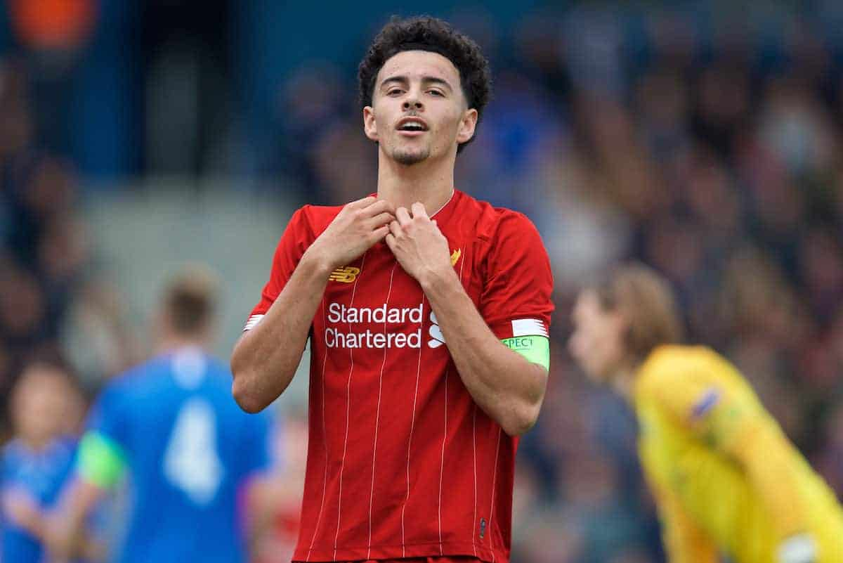 GENK, BELGIUM - Wednesday, October 23, 2019: Liverpool's captain Curtis Jones looks dejected after missing a chance during the UEFA Youth League Group E match between KRC Genk Under-19's and Liverpool FC Under-19's at the KRC Genk Arena Stadium B. (Pic by David Rawcliffe/Propaganda)