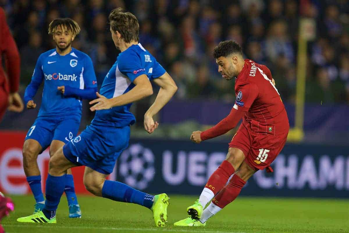 GENK, BELGIUM - Wednesday, October 23, 2019: Liverpool's Alex Oxlade-Chamberlain scores the first goal during the UEFA Champions League Group E match between KRC Genk and Liverpool FC at the KRC Genk Arena. (Pic by David Rawcliffe/Propaganda)