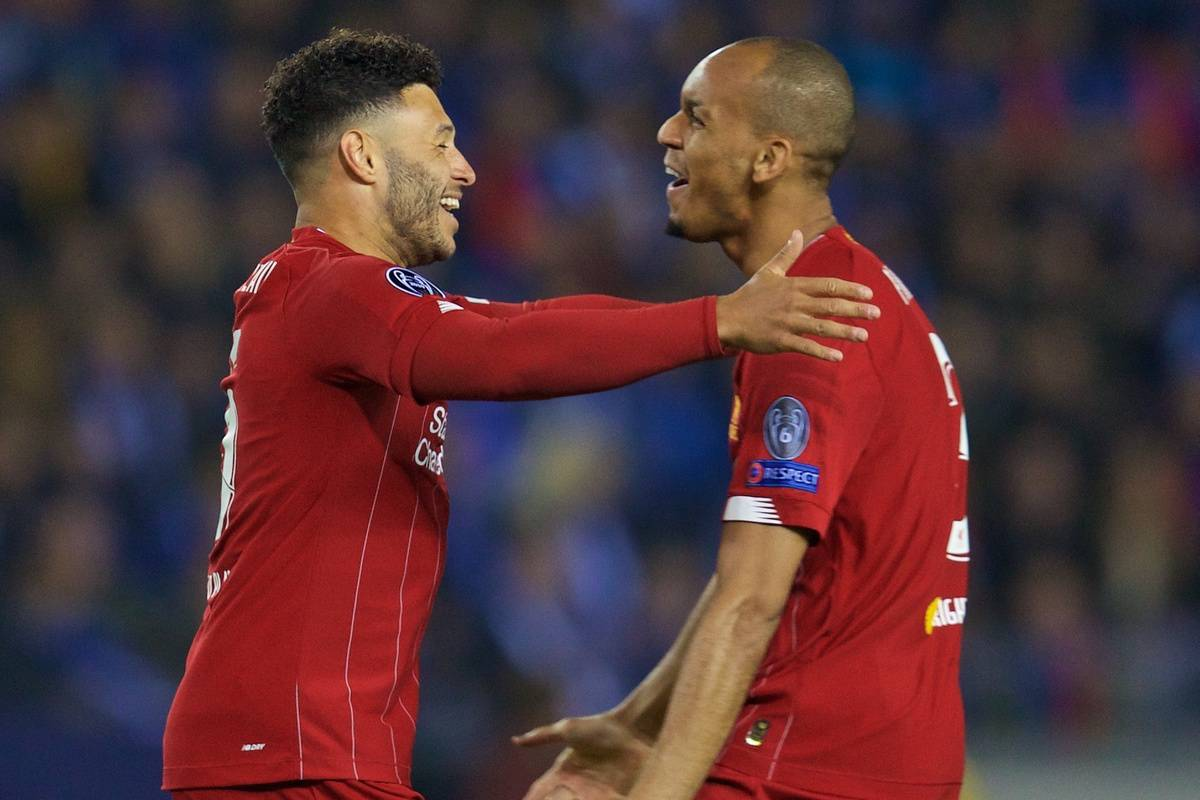 GENK, BELGIUM - Wednesday, October 23, 2019: Liverpool's Alex Oxlade-Chamberlain (L) celebrates scoring the first goal with team-mate Fabio Henrique Tavares 'Fabinho' during the UEFA Champions League Group E match between KRC Genk and Liverpool FC at the KRC Genk Arena. (Pic by David Rawcliffe/Propaganda)