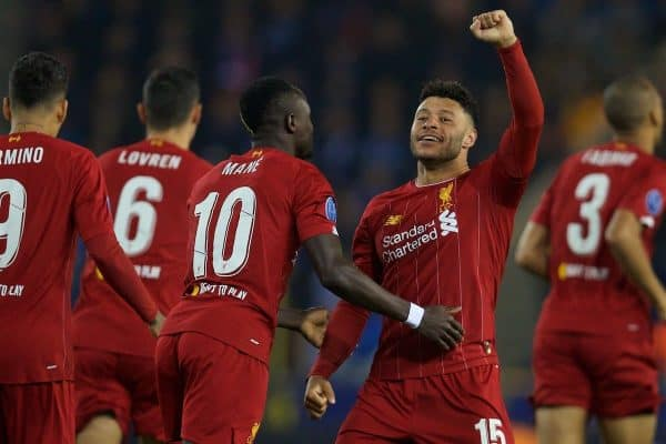 GENK, BELGIUM - Wednesday, October 23, 2019: Liverpool's Alex Oxlade-Chamberlain (L) celebrates scoring the first goal during the UEFA Champions League Group E match between KRC Genk and Liverpool FC at the KRC Genk Arena. (Pic by David Rawcliffe/Propaganda)