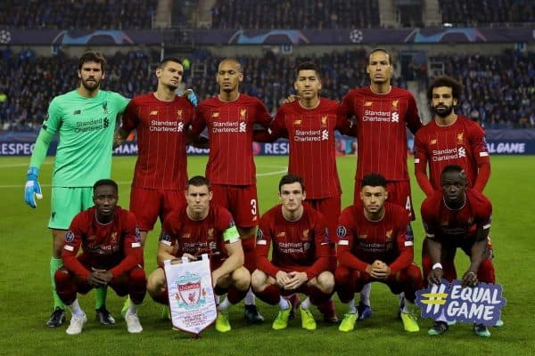 GENK, BELGIUM - Wednesday, October 23, 2019: Liverpool's players line-up for a team group photograph before the UEFA Champions League Group E match between KRC Genk and Liverpool FC at the KRC Genk Arena. (Pic by David Rawcliffe/Propaganda)