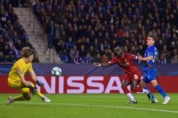 GENK, BELGIUM - Wednesday, October 23, 2019: Liverpool's Sadio Mane sees his shot saved by KRC Genk's goalkeeper Gaetan Coucke during the UEFA Champions League Group E match between KRC Genk and Liverpool FC at the KRC Genk Arena. (Pic by David Rawcliffe/Propaganda)