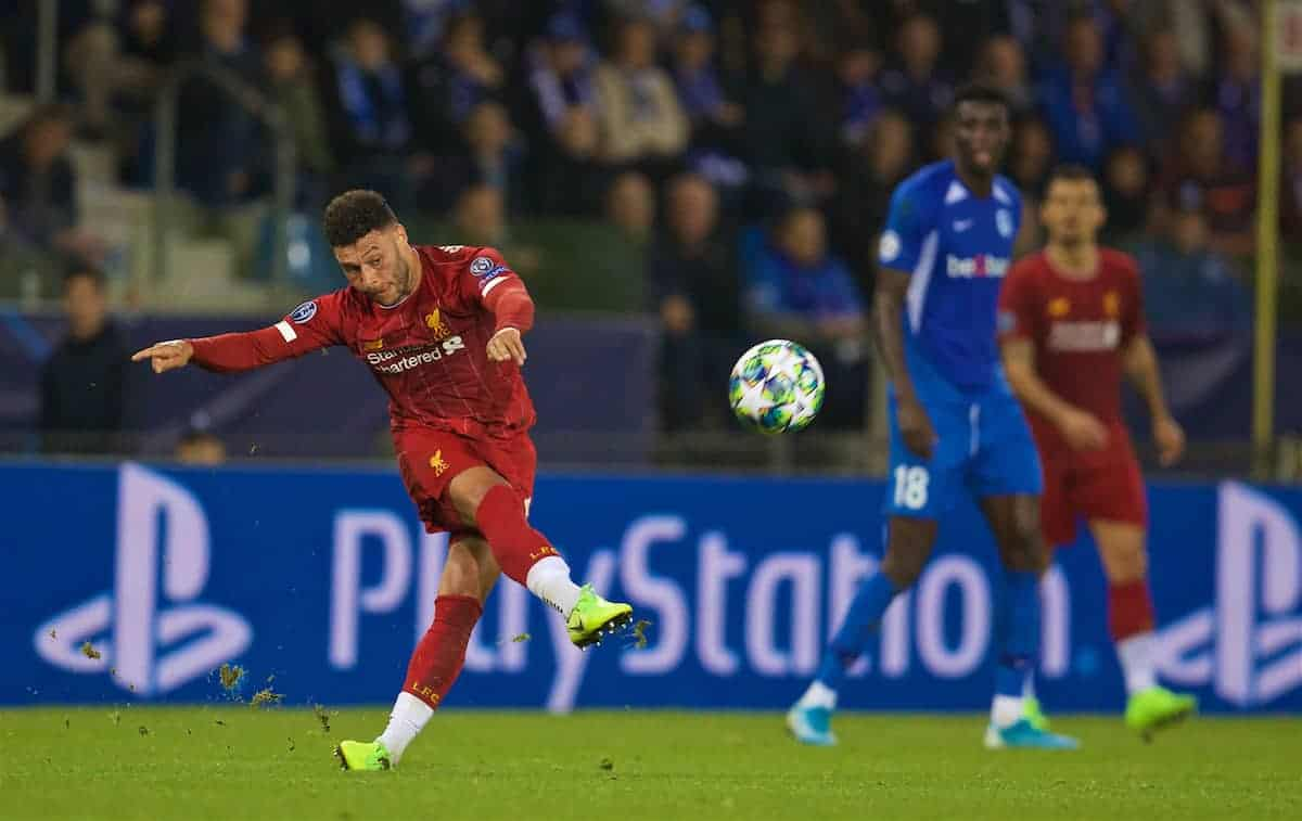 GENK, BELGIUM - Wednesday, October 23, 2019: Liverpool's Alex Oxlade-Chamberlain during the UEFA Champions League Group E match between KRC Genk and Liverpool FC at the KRC Genk Arena. (Pic by David Rawcliffe/Propaganda)