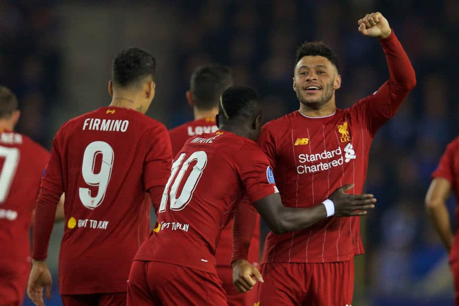 GENK, BELGIUM - Wednesday, October 23, 2019: Liverpool's Alex Oxlade-Chamberlain celebrates scoring the first goal during the UEFA Champions League Group E match between KRC Genk and Liverpool FC at the KRC Genk Arena. (Pic by David Rawcliffe/Propaganda)