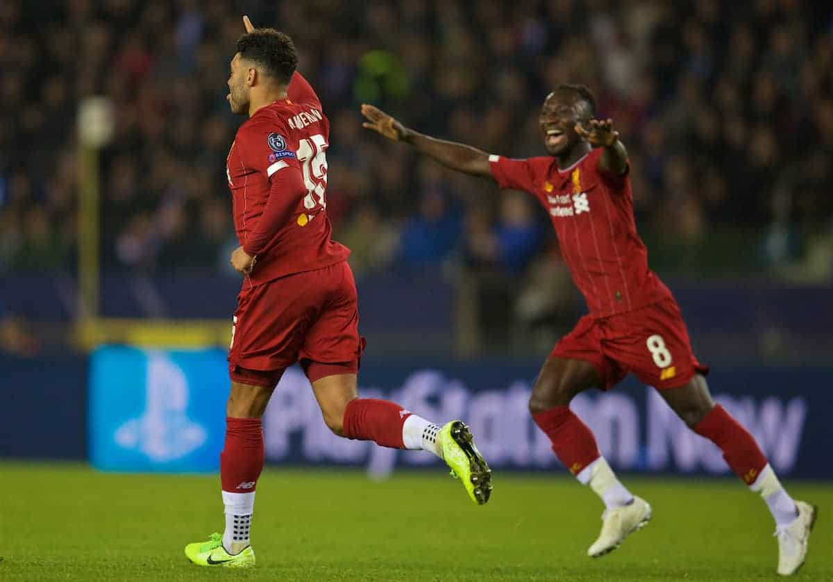 GENK, BELGIUM - Wednesday, October 23, 2019: Liverpool's Alex Oxlade-Chamberlain celebrates scoring the second goal during the UEFA Champions League Group E match between KRC Genk and Liverpool FC at the KRC Genk Arena. (Pic by David Rawcliffe/Propaganda)