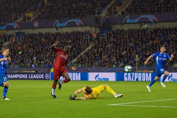 GENK, BELGIUM - Wednesday, October 23, 2019: Liverpool's Sadio Mane scores the third goal during the UEFA Champions League Group E match between KRC Genk and Liverpool FC at the KRC Genk Arena. (Pic by David Rawcliffe/Propaganda)
