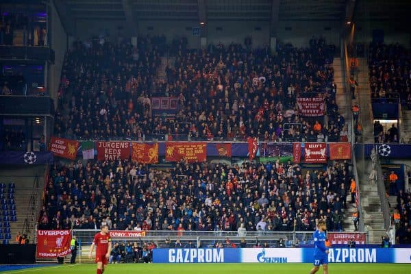 GENK, BELGIUM - Wednesday, October 23, 2019: Liverpool supporters during the UEFA Champions League Group E match between KRC Genk and Liverpool FC at the KRC Genk Arena. (Pic by David Rawcliffe/Propaganda)