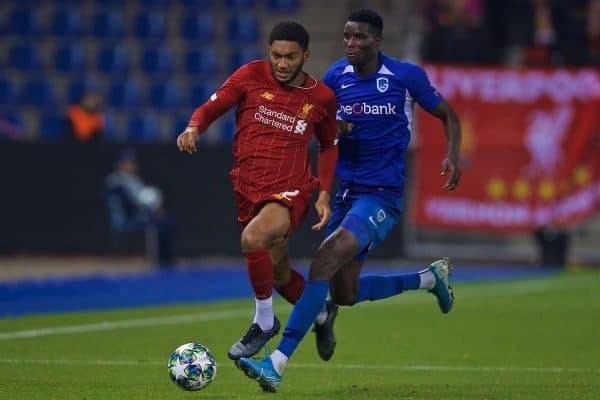 GENK, BELGIUM - Wednesday, October 23, 2019: Liverpool's Joe Gomez (L) and KRC Genk's Paul Onuachu during the UEFA Champions League Group E match between KRC Genk and Liverpool FC at the KRC Genk Arena. (Pic by David Rawcliffe/Propaganda)
