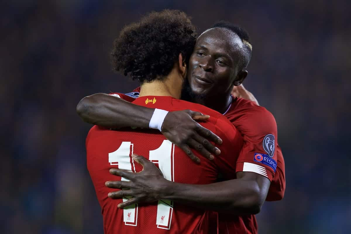 GENK, BELGIUM - Wednesday, October 23, 2019: Liverpool's Mohamed Salah (L) celebrates scoring the fourth goal with team-mate Sadio Mane during the UEFA Champions League Group E match between KRC Genk and Liverpool FC at the KRC Genk Arena. (Pic by David Rawcliffe/Propaganda)