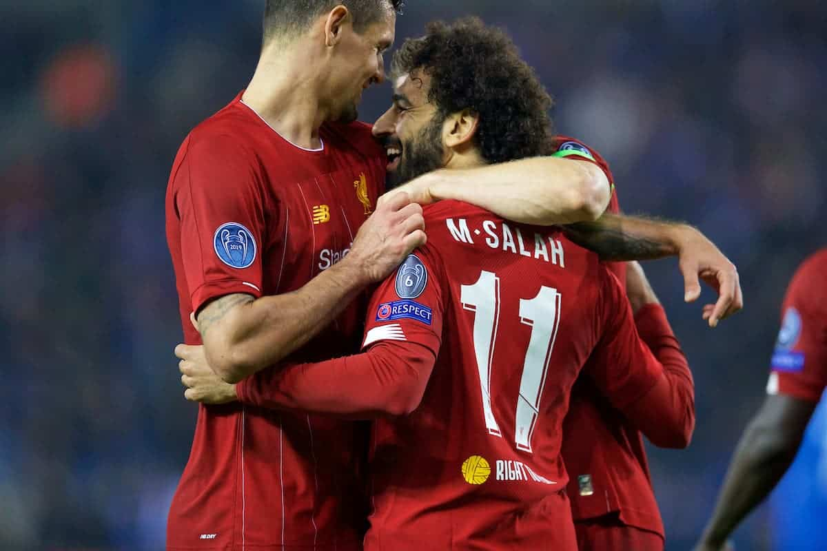 GENK, BELGIUM - Wednesday, October 23, 2019: Liverpool's Mohamed Salah (R) celebrates scoring the fourth goal with team-mate Dejan Lovren during the UEFA Champions League Group E match between KRC Genk and Liverpool FC at the KRC Genk Arena. (Pic by David Rawcliffe/Propaganda)