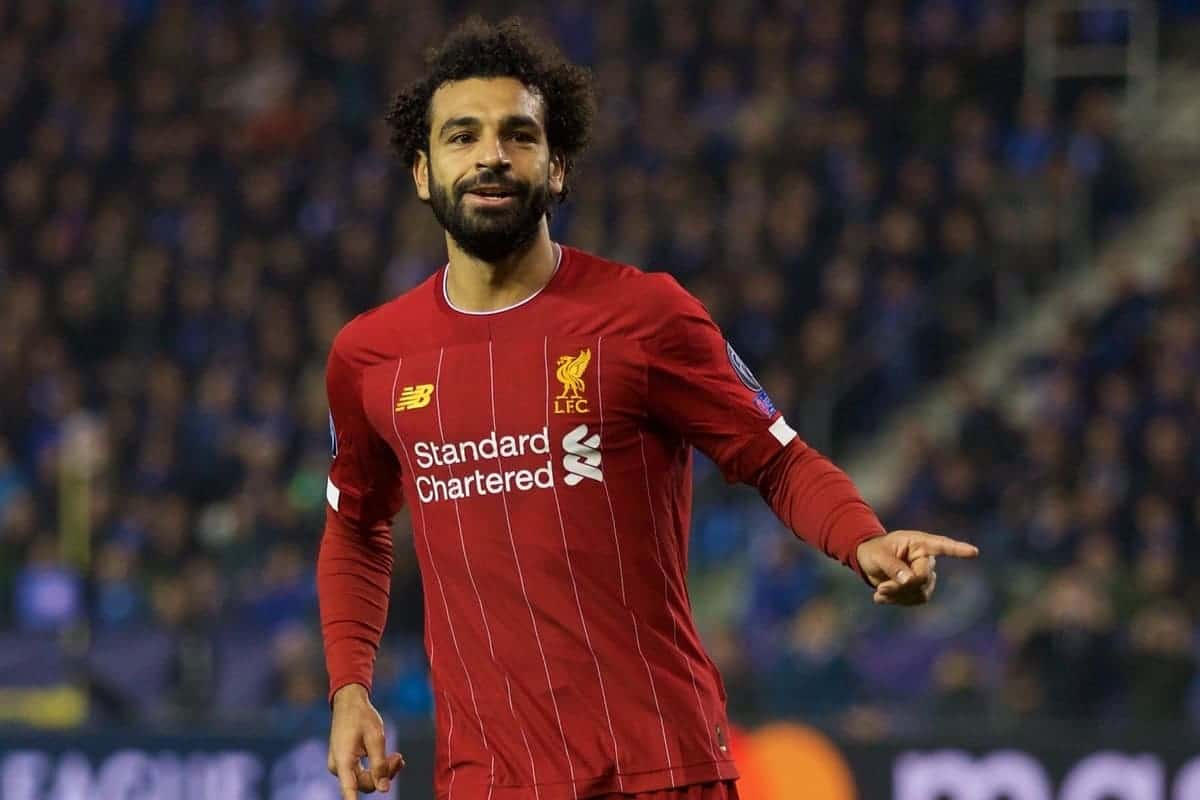 GENK, BELGIUM - Wednesday, October 23, 2019: Liverpool's Mohamed Salah celebrates scoring the fourth goal during the UEFA Champions League Group E match between KRC Genk and Liverpool FC at the KRC Genk Arena. (Pic by David Rawcliffe/Propaganda)