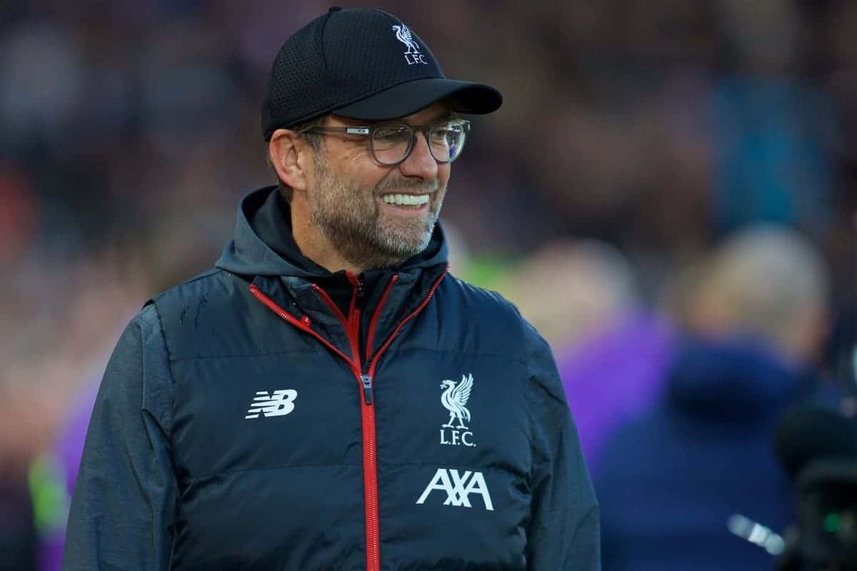 LIVERPOOL, ENGLAND - Sunday, October 27, 2019: Liverpool's manager Jürgen Klopp before the FA Premier League match between Liverpool FC and Tottenham Hotspur FC at Anfield. (Pic by David Rawcliffe/Propaganda)