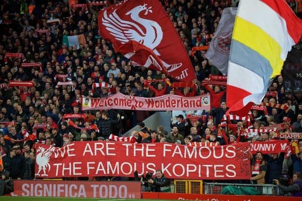 LIVERPOOL, ENGLAND - Sunday, October 27, 2019: Liverpool supporters' banners on the Spion Kop during the FA Premier League match between Liverpool FC and Tottenham Hotspur FC at Anfield. (Pic by David Rawcliffe/Propaganda)