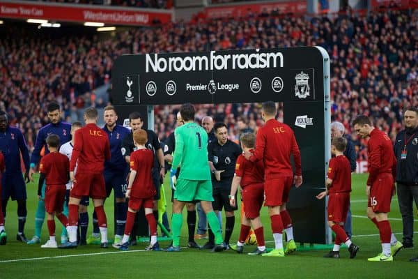 LIVERPOOL, ENGLAND - Sunday, October 27, 2019: Liverpool and Tottenham Hotspur players shake hands in front of a No Room For Racism archway during the FA Premier League match between Liverpool FC and Tottenham Hotspur FC at Anfield. (Pic by David Rawcliffe/Propaganda)