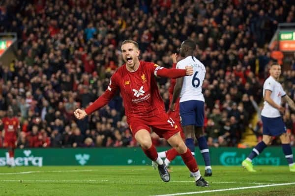LIVERPOOL, ENGLAND - Sunday, October 27, 2019: Liverpool's captain Jordan Henderson celebrates scoring the first goal to equalise the score at 1-1 during the FA Premier League match between Liverpool FC and Tottenham Hotspur FC at Anfield. (Pic by David Rawcliffe/Propaganda)