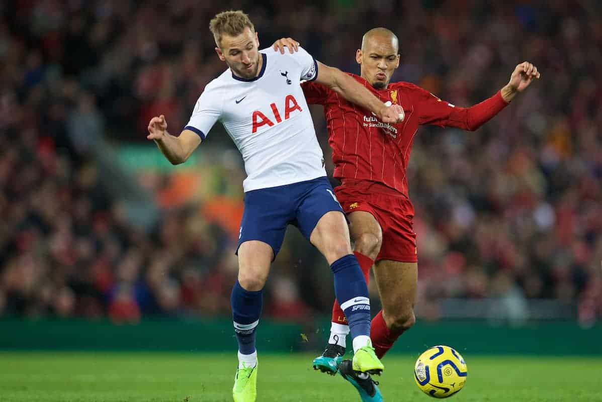 LIVERPOOL, ENGLAND - Sunday, October 27, 2019: Tottenham Hotspur's Harry Kane (L) and Liverpool's Fabio Henrique Tavares 'Fabinho' during the FA Premier League match between Liverpool FC and Tottenham Hotspur FC at Anfield. (Pic by David Rawcliffe/Propaganda)