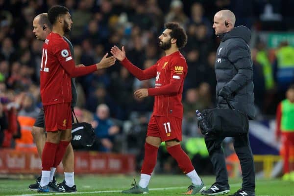 LIVERPOOL, ENGLAND - Sunday, October 27, 2019: Liverpool's Mohamed Salah is substituted for Joe Gomez as he is forced out with an injury during the FA Premier League match between Liverpool FC and Tottenham Hotspur FC at Anfield. (Pic by David Rawcliffe/Propaganda)