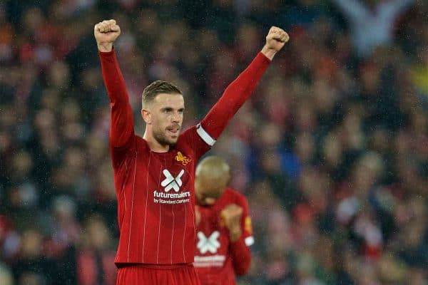 LIVERPOOL, ENGLAND - Sunday, October 27, 2019: Liverpool's captain Jordan Henderson celebrates at the final whistle during the FA Premier League match between Liverpool FC and Tottenham Hotspur FC at Anfield. Liverpool won 2-1. (Pic by David Rawcliffe/Propaganda)