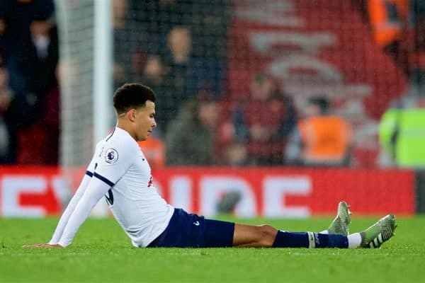 LIVERPOOL, ENGLAND - Sunday, October 27, 2019: Tottenham Hotspur's Dele Alli looks dejected at the final whistle during the FA Premier League match between Liverpool FC and Tottenham Hotspur FC at Anfield. Liverpool won 2-1. (Pic by David Rawcliffe/Propaganda)
