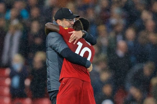 LIVERPOOL, ENGLAND - Sunday, October 27, 2019: Liverpool's manager Jürgen Klopp (L) celebrates with Sadio Mané at the final whistle during the FA Premier League match between Liverpool FC and Tottenham Hotspur FC at Anfield. Liverpool won 2-1. (Pic by David Rawcliffe/Propaganda)