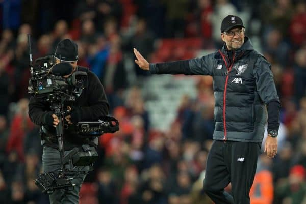 LIVERPOOL, ENGLAND - Sunday, October 27, 2019: Liverpool's manager Jürgen Klopp refuses to celebrate in front of the annoying Steady Cam at the final whistle during the FA Premier League match between Liverpool FC and Tottenham Hotspur FC at Anfield. Liverpool won 2-1. (Pic by David Rawcliffe/Propaganda)
