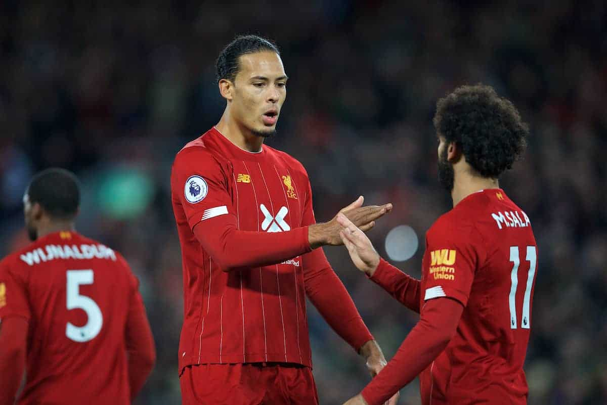 LIVERPOOL, ENGLAND - Sunday, October 27, 2019: Liverpool's Mohamed Salah (R) celebrates with team-mate Virgil van Dijk (L) after scoring the winning second goal from a penalty kick during the FA Premier League match between Liverpool FC and Tottenham Hotspur FC at Anfield. Liverpool won 2-1. (Pic by David Rawcliffe/Propaganda)