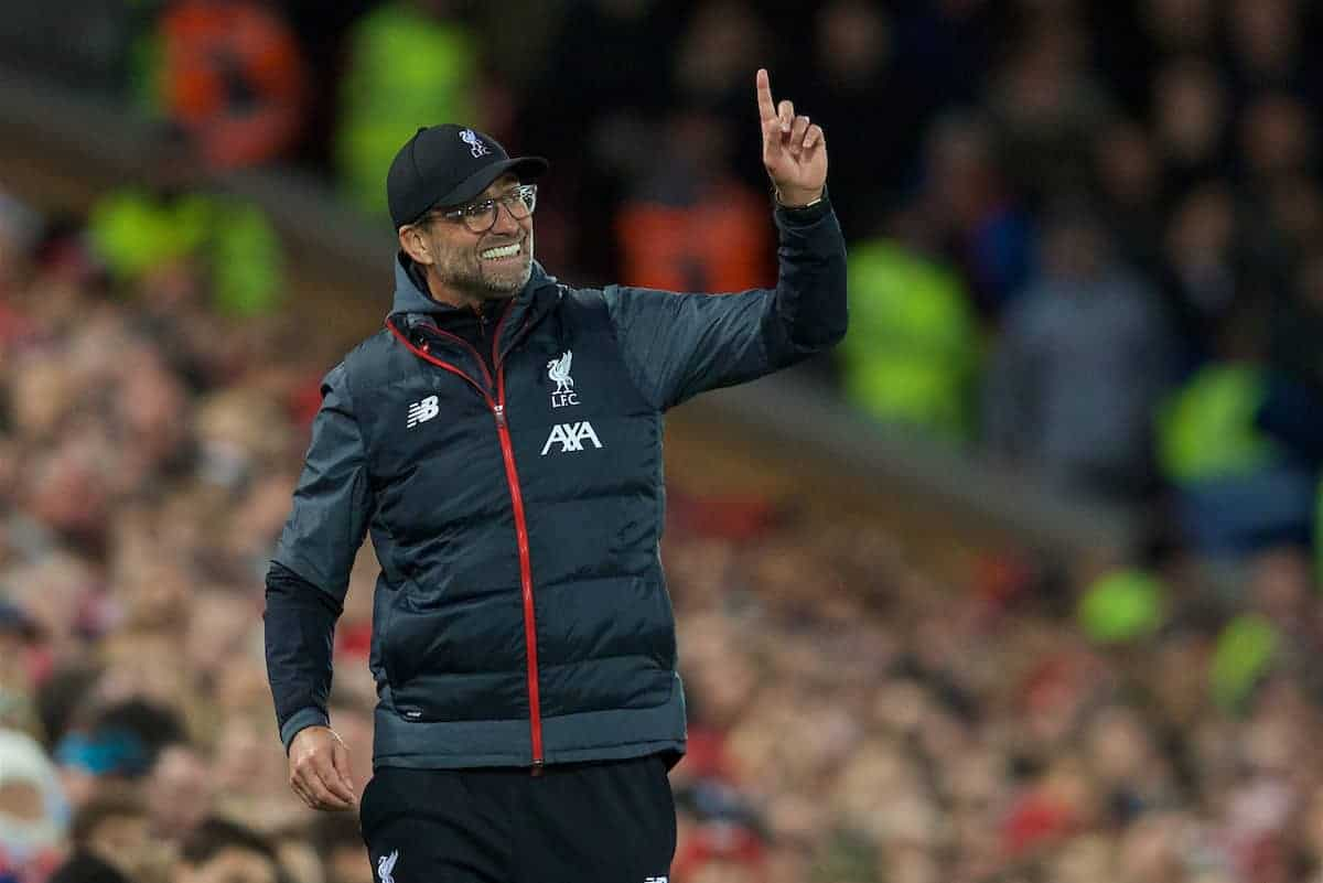 LIVERPOOL, ENGLAND - Sunday, October 27, 2019: Liverpool's manager Jürgen Klopp points to the sky during the FA Premier League match between Liverpool FC and Tottenham Hotspur FC at Anfield. (Pic by David Rawcliffe/Propaganda)