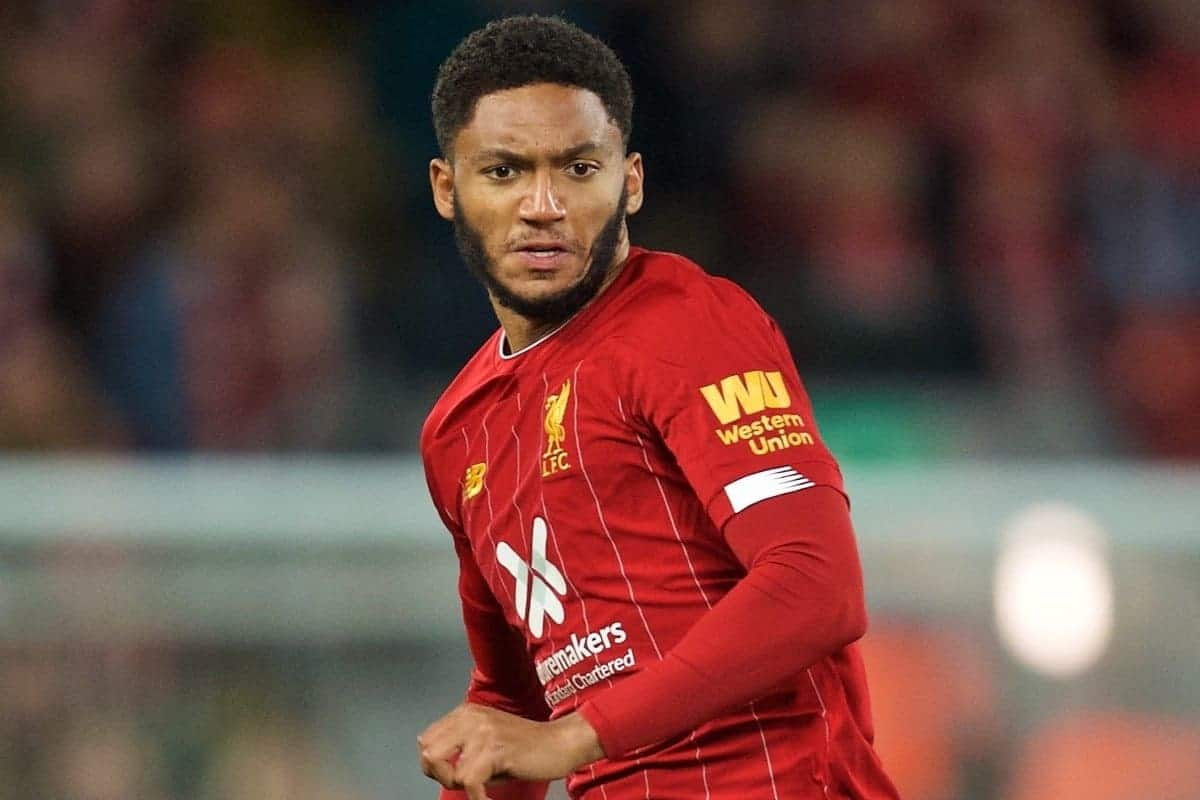LIVERPOOL, ENGLAND - Sunday, October 27, 2019: Liverpool's Joe Gomez during the FA Premier League match between Liverpool FC and Tottenham Hotspur FC at Anfield. (Pic by David Rawcliffe/Propaganda)