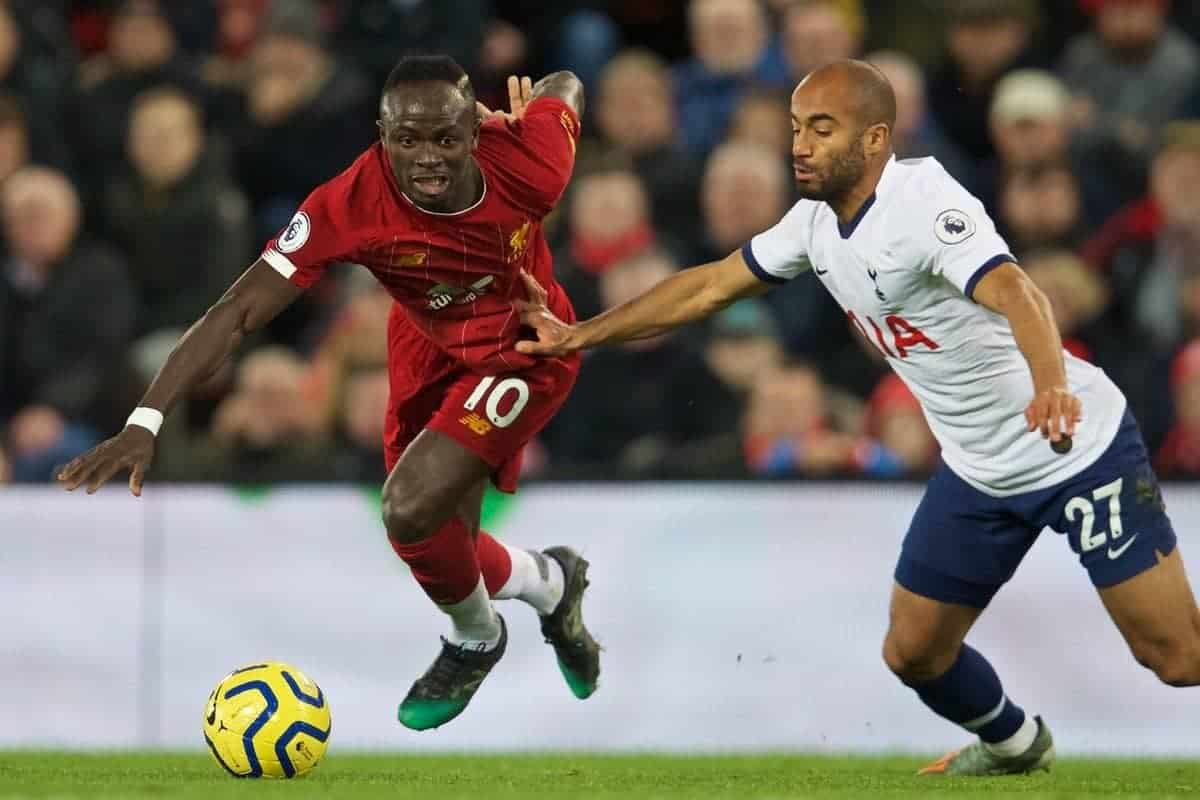 LIVERPOOL, ENGLAND - Sunday, October 27, 2019: Liverpool's Sadio Mané (L) and Tottenham Hotspur's Lucas Moura during the FA Premier League match between Liverpool FC and Tottenham Hotspur FC at Anfield. (Pic by David Rawcliffe/Propaganda)