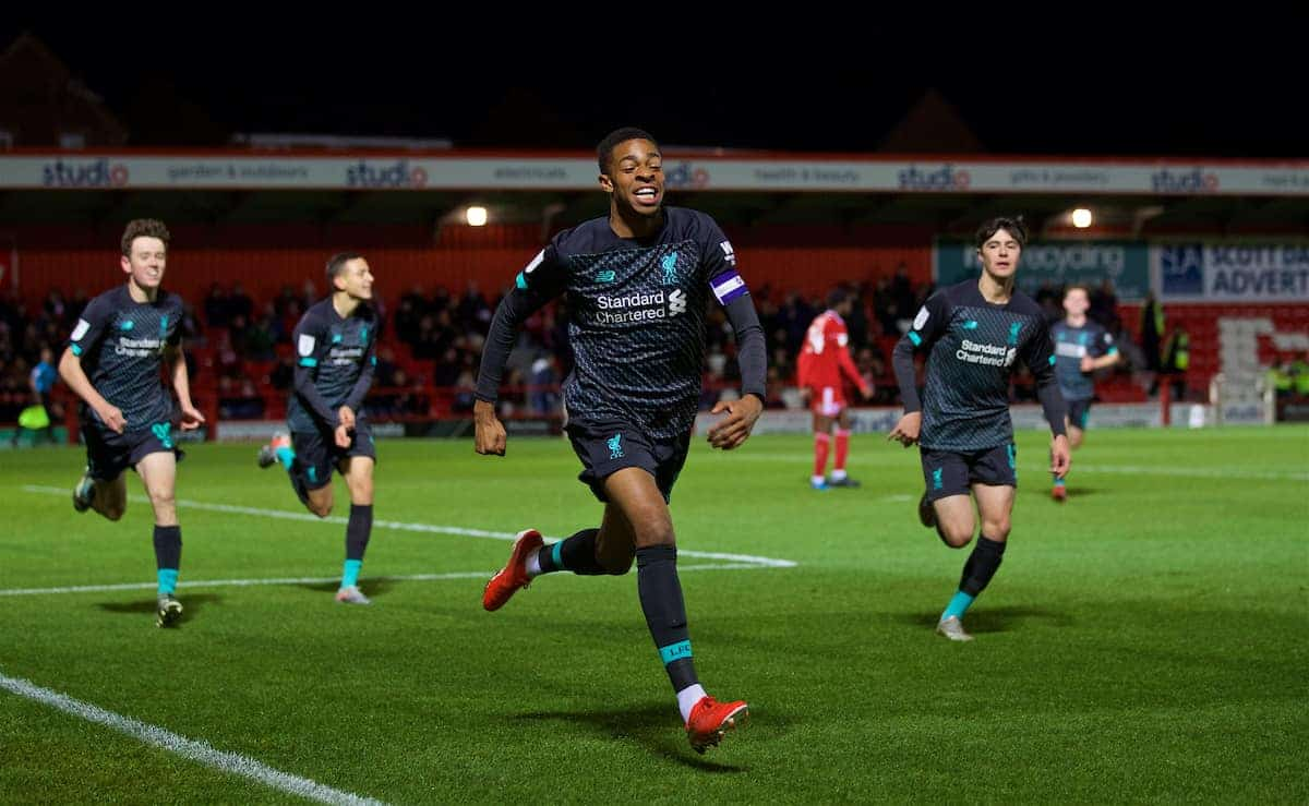 ACCRINGTON, ENGLAND - Tuesday, October 29, 2019: Liverpool's Elijah Dixon-Bonner celebrates scoring the first goal during the English Football League Trophy Northern Group B match between Accrington Stanley and Liverpool FC at the Crown Ground. (Pic by David Rawcliffe/Propaganda)