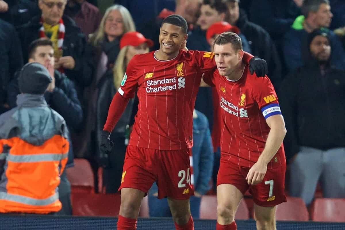 LIVERPOOL, ENGLAND - Wednesday, October 30, 2019: Liverpool's Rhian Brewster (L) and James Milner celebrate as an own goal give their side a 1-0 lead during the Football League Cup 4th Round match between Liverpool FC and Arsenal FC at Anfield. (Pic by David Rawcliffe/Propaganda)